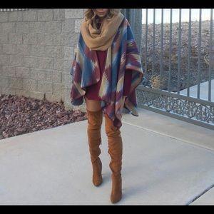 Sweaters - Tribal print poncho cardigan